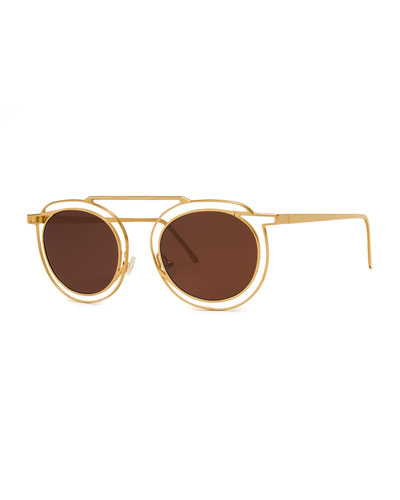 THIERRY LASRY Potentially Cutout Round Sunglasses, Yellow in Yellow Pattern