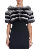 Chinchilla Fur Capelet with Swarovski® Crystals