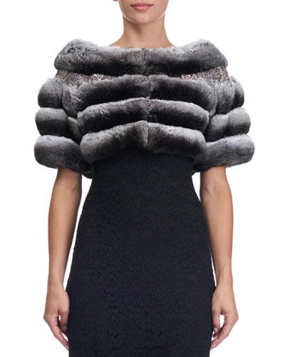 Chinchilla Fur Capelet with Swarovski® Crystals