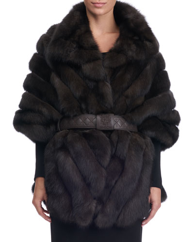 Chevron Sable Fur Cape with Leather Belt