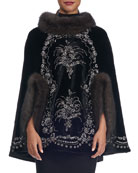 Beaded Mink-Trim Sable Cape