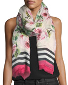 Rose-Print Cashmere-Blend Scarf