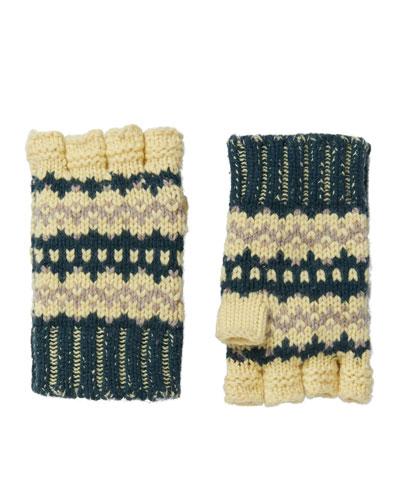 Knitted Fingerless Gloves, Forest