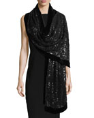 Web Lace Sequin Stole w/ Velvet Border