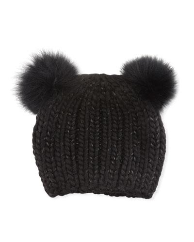 Mimi Tonal Double Fur Pompoms Beanie Hat, Black