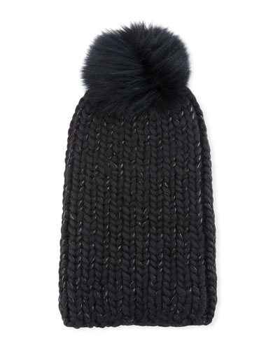 Rain Fur-Pompom Beanie Hat
