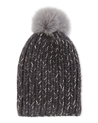 e70ba52c51f Eugenia Kim Rain Fox Fur Pom-Pom Metallic Beanie In Gray