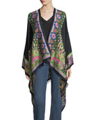 Embroidered Floral Paisley Cape