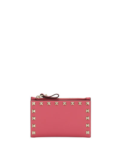 Rockstud Leather Zip Coin Purse/Card Holder