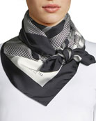 Check Silk Square Scarf