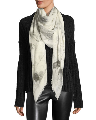 Skull & Roses Black Magic Scarf, White