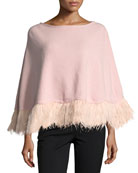 Cashmere Poncho w/ Ostrich Feather Trim, Light Pink