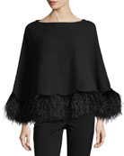 Cashmere Poncho w/ Ostrich Feather Trim, Black