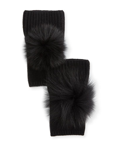 Fingerless Cashmere Gloves w/ Fur Pompoms, Black