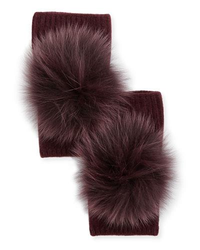 Fingerless Cashmere Gloves w/ Fur Pompoms, Burgundy