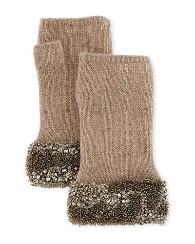 Fingerless Cashmere Gloves w/ Crystal Pave Cuffs