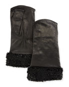 Fingerless Leather Gloves w/ Shiny Camo Beading Cuffs