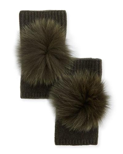 Fingerless Cashmere Gloves w/ Fur Pompoms, Green