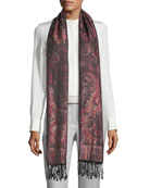 Fantasia Paisley-Print Silk Shawl, Black/Purple