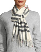 Burberry Giant-Check Cashmere Scarf, White