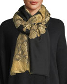 Pumice Lace-Overlay Evening Stole/Wrap, Black/Gold