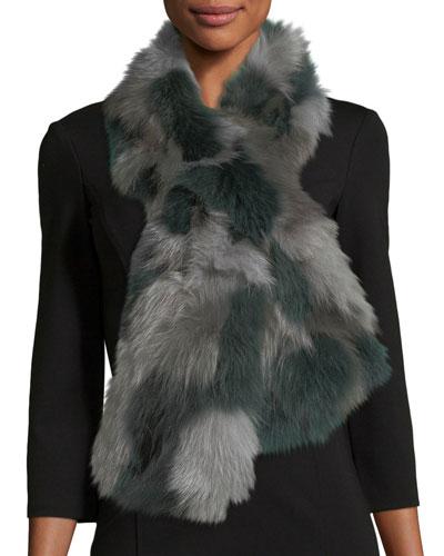 Fur Pull-Through Scarf, Gray Pattern