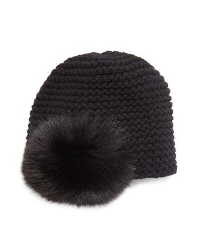 Fur Pom-Pom Beanie Hat
