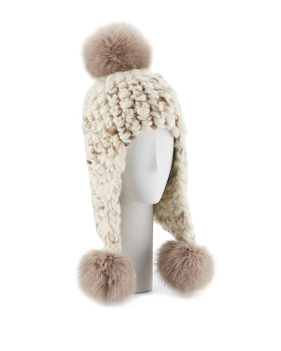 Triple Fur Pompom Trapper Hat, White Pattern