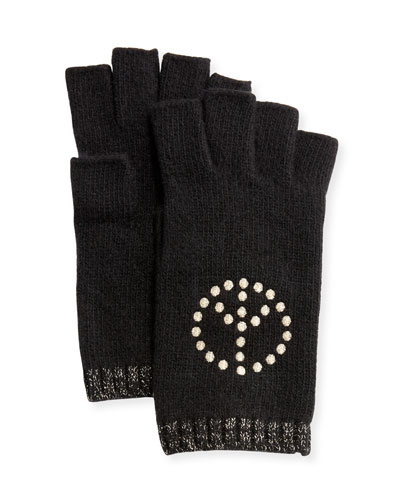 Cashmere Fingerless Gloves w/ Peace Sign Embroidery