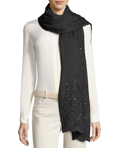 Cashmere Stola Midnight Bloom Sequin Scarf