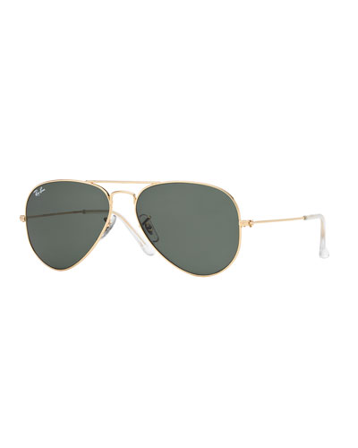 Monochromatic Metal Aviator Sunglasses, Yellow Pattern