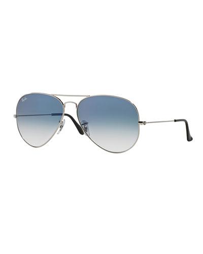 Gradient Metal Aviator Sunglasses, Blue Pattern