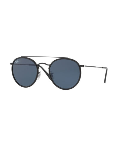 Monochromatic Round Metal Sunglasses