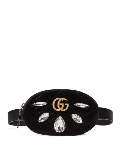 GG Marmont Small Quilted Velvet Belt Bag