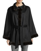 Belted Cashmere Cape w/ Cross Cut Mink Fur Trim