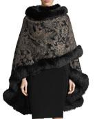 Paisley Cashmere Cape w/ Fur Trim