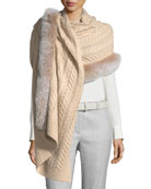 Staghorn Chunky-Knit Cashmere Stole w/ Fur Trim
