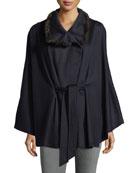 Cashmere Cape w/ Cross Cut Mink Fur Collar