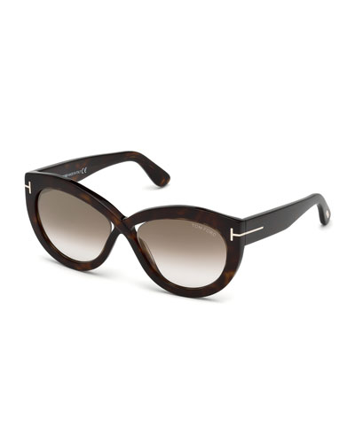Diane Acetate Butterfly Sunglasses, Brown Pattern