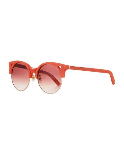 Up & At Em Semi-Rimless Round Sunglasses, Coral