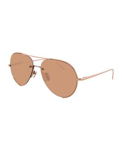 Semi-Rimless Aviator Sunglasses, Rose Gold