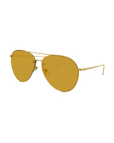 Semi-Rimless Mirrored Aviator Sunglasses, Gold