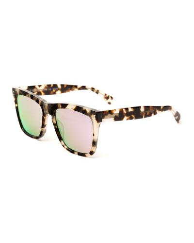 Square Mirrored Sunglasses, Brown