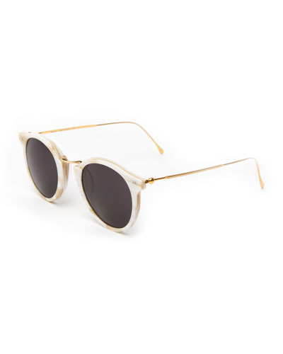Round Acetate & Steel Sunglasses, Beige