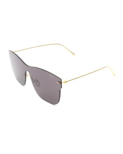 Square Rimless Steel Sunglasses, Gray