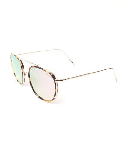 Single-Bridge Acetate Square Sunglasses, Brown Pattern