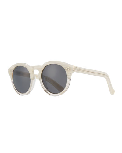 Patterned Round Monochromatic Sunglasses, White Pattern