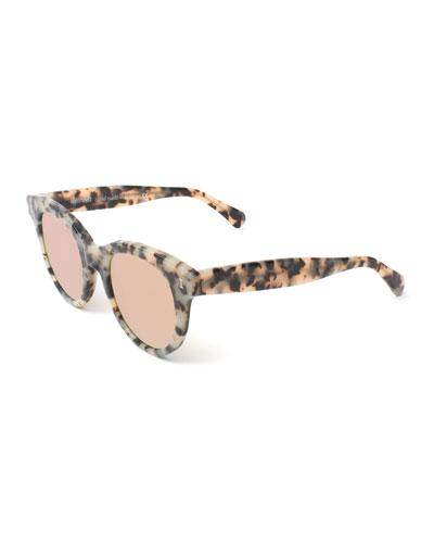 Round Mirrored Acetate Sunglasses, White