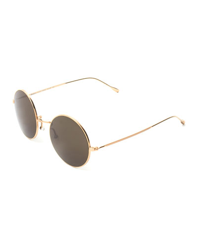 Round Mirrored Metal Sunglasses, Golden