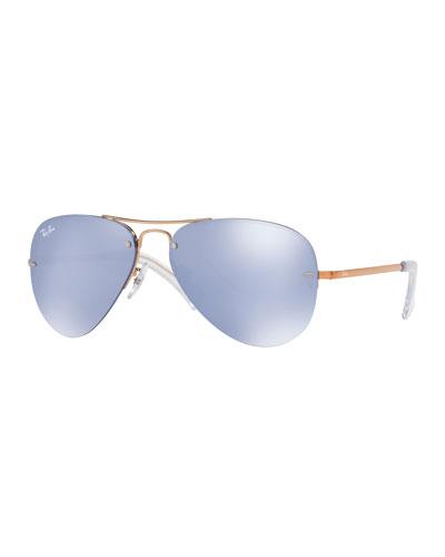 Iridescent Rimless Aviator Sunglasses, Brown